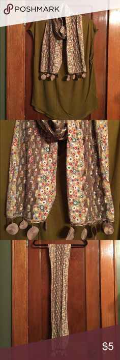 """Scarf Flowered scarf with crochet detailing. Width 7.5"""". Length 66"""". Accessories Scarves & Wraps"""