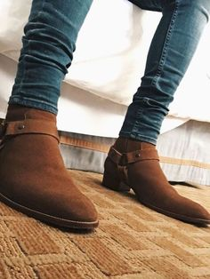 Genuine Leather Handmade High Ankle Brown Color Jodhpur Buckle Strap Boots sold by Lajuria. Chelsea Boots Outfit, Mens Boots Fashion, Leather Fashion, Man Fashion, High Ankle Boots, Shoe Boots, Men's Boots, Suede Leather Shoes, Soft Leather