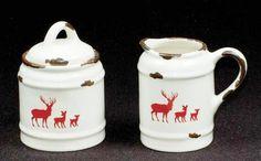"""Tin Enamelware Ceramics: Red Reindeer Creamer/Sugar Bowl Set; 4"""" high"""
