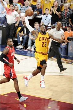 LeBron dunks the ball in Game 4 of the Eastern Conference Finals May 26, 2015.  Cavs won 88 to 118 to sweep the Hawks!!!  On to the NBA Finals!!!