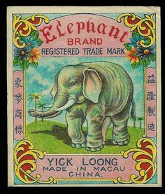 Elephant Brand vintage firecracker label @@@.....http://www.pinterest.com/marinagomor/posters-labels-prints/