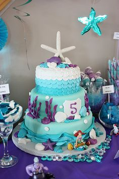This cake is so adorable. Would go great for the under-the-sea-little-mermaid birthday party!