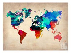 World Watercolor Map 1 Art Print by NaxArt. Save up to 40% for a limited time at Art.com.