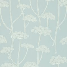 anise wallpaper in powder blue/ivory from sanderson. colour for living collection.