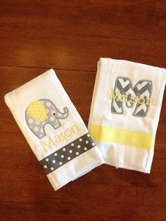 Yellow and Gray Elephant Burp Cloth Set