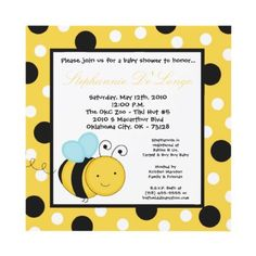 5x5 Buzzin Honey Bumble Bee Baby Shower Invitation by thepapergenius