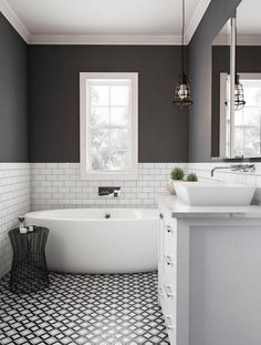 Beautiful bathroom decor tips. Modern Farmhouse, Rustic Modern, Classic, light and airy master bathroom design tips. Bathroom makeover suggestions and master bathroom renovation suggestions. Wainscoting Bathroom, Bathroom Windows, Bathroom Layout, Bathroom Interior Design, Bathroom Ideas, Interior Paint, Bathroom Organization, Bathroom Cabinets, Wainscoting Ideas