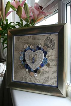 Mixed media Alice in Wonderland Heart Frame, with ceramic heart, origami, buttons, OOAK, unique, ideal as wedding or baby boy gift.