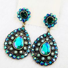 Pair of Chic Color Intrigue Diamante Earrings For Women