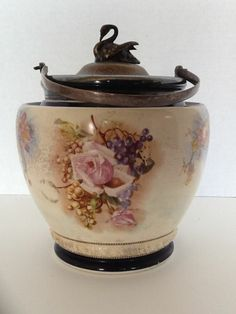 Antique Biscuit Jar W & W Co. Barrel Cookie Silver-Plate Swan Lid Fruit Flowers