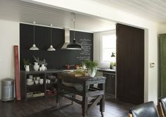 what a lovely simple kitchen. plus who couldn't love a chalkboard wall?