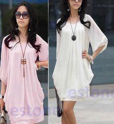 Fashion Women Lady Graceful Gentle Womanly Chiffon Sleeve Show Thin Mini Dress   eBay