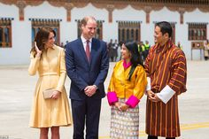 All smiles: The Duke and Duchess of Cambridge pose for photographs with the King of Bhutan's sister Chhimi Yangzom and her husband