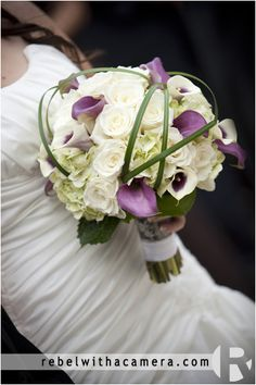 Bridesmaids bouquet - All ivory against plum dress incorporating eggplant and picasso calla lilies