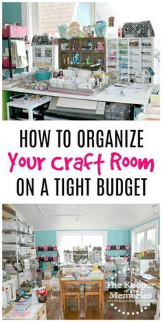 10 Tips For Organizing Your Creative Space On A Tight Budget Overwhelmed? Looking for inspiration? Here are 10 tips for organizing your creative on a tight budget. Lots of awesome ideas in this post! Sewing Room Organization, Craft Room Storage, Storage Ideas, Craft Rooms, Paper Storage, Organization Ideas, Ribbon Storage, Craft Room Design, Budget Planer