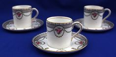 3 AYNSLEY Vintage Art Nouveau Coffee Cans / Cups & Saucers | eBay