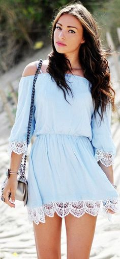 Thira Blue Off-Shoulder Dress with Crochet Hem