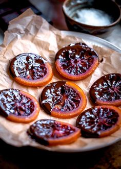 Candied Blood Orange Slices with Dark Chocolate and Sea Salt @blogoverthyme