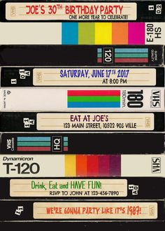 look VHS Invitation Cassette Invite Invitation party 30th Birthday, Birthday Parties, Birthday Ideas, Grunge Party, 2000s Party, 80s Party Outfits, 90s Theme, Tapas, Party Fiesta