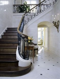 Dark wood stairs and a wrought iron railing with gilded banister provide a focal point in this elegant marble-tiled entry hall. (via French-inspired Entry Hall and Stair - traditional - entry - los angeles - by Felhandler/ Steeneken Architects) Tile Stairs, Entry Stairs, Staircase Railings, Wooden Stairs, Banisters, House Stairs, Entry Hall, Marble Stairs, Staircases