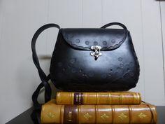 Matoirs vintage style large black tooled leather bag by Matoirs, $240.00