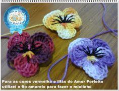 Carine Strieder e seus Crochês: PAP Flor Amor Perfeito em Crochê por Glaciane Vieira