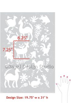 Large Allover Otomi Folk Art Wall Stencil by royaldesignstencils