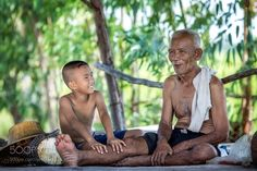 Asia grandson were happy to squeeze mustache by Pitakchatr
