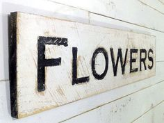 Large Flowers Sign  40 x 10 Carved in a Cypress by AmericanaSigns