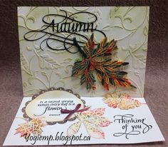 """Easel quilled autumn leaf; electronic cut files """"Autumn Flourished"""", """"Scalloped Frames"""", & """"4 Leaf Silhouettes"""" by #SuzanneCannon available on Silhouette onLine store; dry embossing, ribbon/gems; quote, sentiment and design element stamps by #QuietfireDesign; http://yogiemp.blogspot.ca/2016/11/mc-nov16-easel-quilled-autumn-leaf.html"""