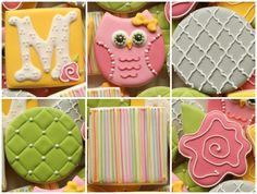 Quilted Owl Cookie Collection - love the stripe [grey/hotpink/light pink/yellow/green on white]