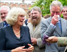 Guffawing ... red-faced Charles and Camilla weeping with mirth