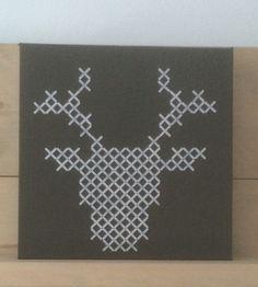Rendier van voegkruisjes op geverfd canvas