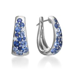 Mark Patterson Fashion - Tango Collection 18K White Gold Blue Sapphire & Diamond Hoop Earrings (Available at Michael C. Fina)
