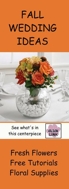 Great ideas for autumn wedding bouquets and centerpieces.  Check out free step by step flower tutorials.