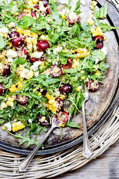 Cherry, Grilled Corn and Quinoa Salad with Arugula and Blue Cheese | www.floatingkitchen.net