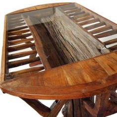 Table ovale tronc creusé vitrée
