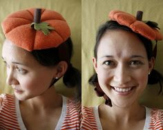 DIY Pumpkin Hat #Pumpkins #Halloween #DIY #Costumes #HalloweenCostumes #Hats #Sew #Sewing