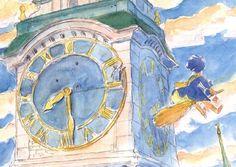 The amazing digital art - concept art of Kiki's Delivery Service by Studio Ghibli Studio Ghibli Art, Studio Ghibli Movies, Hayao Miyazaki, Anime Manga, Anime Art, Kiki Delivery, Castle In The Sky, Totoro, Art Inspo