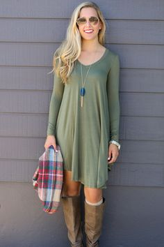 Follow Your Heart Olive V-Neck Long Sleeve Dress