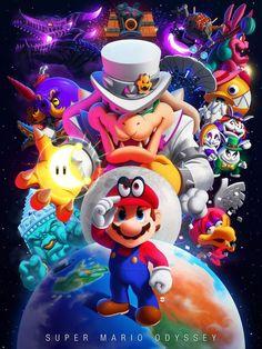 — Super Mario Odyssey Art by Marcos Lopez Super Mario World, Super Mario Bros, Mundo Super Mario, Super Smash Bros, Nintendo Game, Nintendo Characters, Nintendo World, Nintendo Switch, Super Nintendo