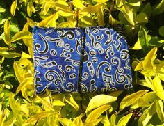 Business Card Holder in blue musical note print