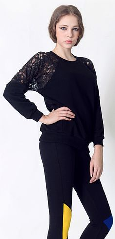 Lace Shoulder T-shirt (2 Colors) | Fall & Winter | Dolly & Molly | www.dollymolly.com | #shoulder #lace #Tee #black #sexy #top #lady #elegant #winter #musthave #kpop #models #ANTM #vogue #trend