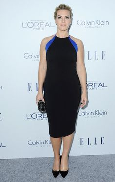 Kate Winslet wears a black Badgley Mischka halter dress.