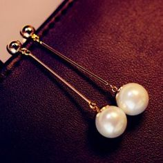$3.57 Pair of Elegant Faux Pearl Pendant Long Alloy Earrings For Women