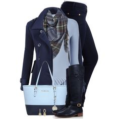 #2698 winter blues by sherri-leger on Polyvore featuring Mode, Emporio Armani, LE3NO, 7 For All Mankind, Tory Burch, MICHAEL Michael Kors, Anne Sisteron and Apt. 9