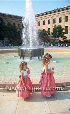 flower girl dresses in Antigua Taupe, Antique White and Coral rose silk  from Pegeen.com