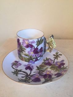 Haviland CFH GDM Butterfly Handle Lavender Purple Tea Cup And Plate Signed!