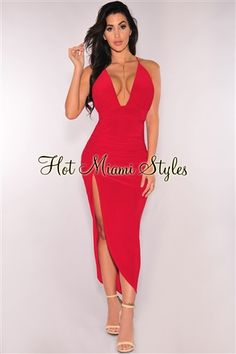 e64d2a6c8b Ruby Red Ruched Slit Halter Dress Womens clothing clothes hot miami styles  hotmiamistyles hotmiamistyles.com sexy club wear evening clubwear cocktail  party ...