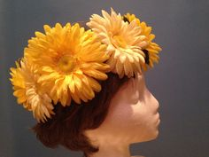 Yellow Flower crown Yellow daisy Wreath by GwenOffuttDesigns